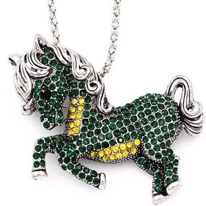 Betsey Johnson Green Crystal Pony Horse Pendant